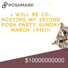 """🎉🎈I AM CO-HOSTING MY SECOND POSH PARTY!!!🥂🍾 I am excited to share that I will be co-hosting my SECOND Posh Party on Sunday, March 19th @12pm Eastern time!!! The theme will be """"Best in Dresses and Skirts"""" and I will be on the lookout for POSH COMPLIANT closets when choosing my Host Picks! Please follow my closet and like and share this post!!! Thanks and HAPPY POSHING! *UPDATE* If I haven't responded to a question or comment yet I apologize! (See my """"we've been moving"""" listing- lol). I…"""