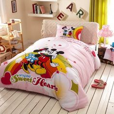 günstig Kinderbett 3D Bettwäsche Pink Disney Cartoon Mickey and Minnie Mouse rot Bettset billig online kaufen