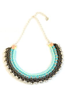 statement necklace, tribal bib, black and blue crochet jewelry chunky chain necklace.