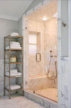 Bathroom Marble Shower. Great idea for bathroom reno: marble shower. #Marble #Bathroom #Shower