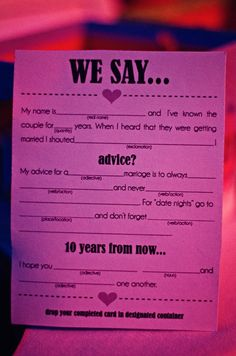 I love this idea! Guests can fill these out at the engagement party, then we can read the funniest cards at the wedding reception :)