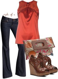 """""""Rust Top"""" by styleofe ❤ liked on Polyvore"""