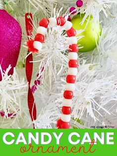 Pipe Cleaner Candy Cane Ornament. Beaded candy cane ornaments are one of the easiest crafts you can make with your kids, and they're loaded with educational benefits too! Your kids will have so much fun stringing beads on pipe cleaners they won't even know they're practicing counting, patterning, and fine motor skills. Family and friends love these keepsake pipe cleaner ornaments too! Head to the blog to learn more! #Christmasornaments #prek Kids Christmas Ornaments, Preschool Christmas, Christmas Activities, Preschool Crafts, Christmas Themes, Fun Crafts, Christmas Wreaths, Christmas Crafts, Polar Express Activities
