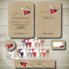 R is for ROCKET SHIP - personalised invitation printable party package. $28.00, via Etsy.