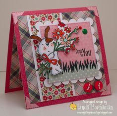 LOTV - Odd Dog Flowers for You with sentiment from Happy Bears Set by Linda Borneman