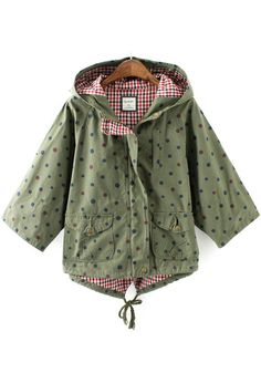 Army Green Polka Dot Drawstring Trench Coat