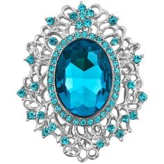 Blue Topaz Brooch ❤ liked on Polyvore featuring jewelry, brooches and blue topaz jewelry
