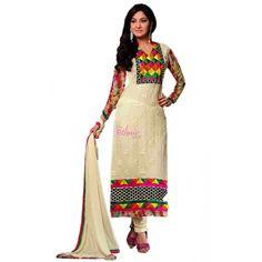 Cream Georgette #Designer Churidar Kameez With Dupatta #Salwarkameez