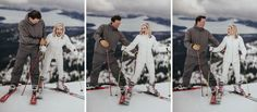 Matt Shumate Photography at Schweitzer Mountain Resort winter wedding funny moment where the bride starts to fall and the groom catches her while they laugh