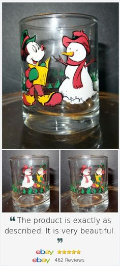 Shot Glass Disney Anchor Mickey Mouse Snow Man Christmas Tree Reading Winter