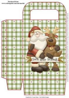 Such Deer Friends Christmas Gift Bag on Craftsuprint designed by Toni Martin - A gift bag to co-ordinate with my mini kit cup637937_1894. Print out twice to make your gift bag. - Now available for download!