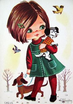 big eyed girl vintage 70's postcards - Google Search. E' lo stile di una volta, lo ricordo benissimo!