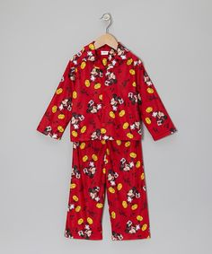 Take a look at this Red Mickey Button-Up Pajama Set - Infant & Toddler on zulily today!