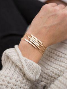 Bar Bracelet Personalized, Gold, Silver, Rose Gold / Small Skinny Bracelet - Dainty, Minimal Stacking Bracelet Layered and Long LB130_30_B