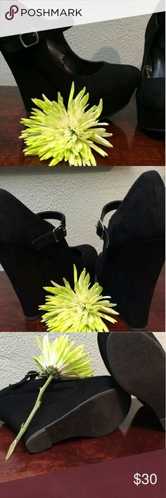 5' black wedge heels Super comfortable black suede wedges with sexy strap, only worn a couple of times! I had originally bought it for my birthday outfit but they were too big for me. Maybe willing to trade Charlotte Russe Shoes Wedges