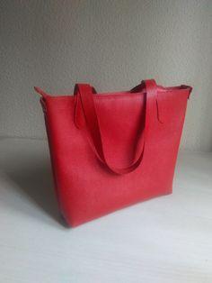 Bolso Tote de Cuero Rojo para Mujer, Bolso de Piel para Mujer, Bolsos de Mujer Rojo de JYNzapateros en Etsy
