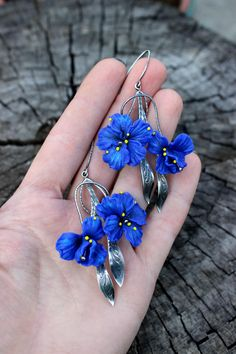 Floral jewelry from polymer clay and 925 silver by Jewelrylimanska