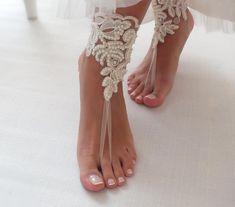 Ivory lace barefoot sandals wedding barefoot lace sandals | Etsy