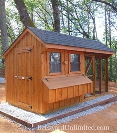 6'x12' Quaker Combination Coup with board & batten siding and wire over windows. 8' high, includes 6 nesting boxes, and holds 18-20 chickens--Colfax, CA http://www.backyardunlimited.com/