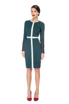 The Ivette Dress by Rachel Sin is a long sleeve fitted dress with green and black colour block detailing. Confident style for the modern woman. Emerald Dresses, Long Sleeve Fitted Dress, Industrial Style, Daily Fashion, Cold Shoulder Dress, Dresses For Work, Clothes, Collection, Color