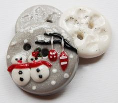 Snowman - Love set of 3 polymer clay handmade buttons