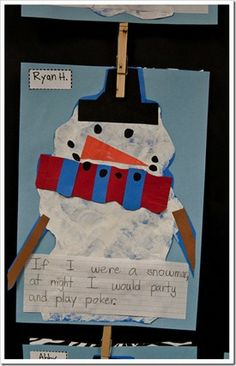 ELA : Snowmen at Night writing craftivity (more than one version)