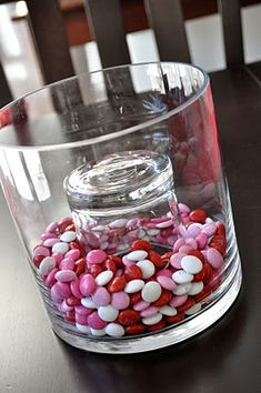 Fill a vase with candy for decor on a budget- why haven't I thought of that before now?!