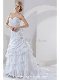 Taffeta Sweetheart Court Train A-Line Wedding Dress with Ruched Flower