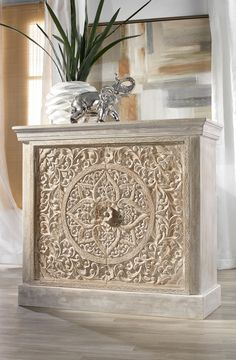 Our NEW hand-carved Sanctuary Cabinet is constructed of mango wood and lightly whitewashed to enhance detail. Two shelves inside. Mango Wood Furniture, Painted Furniture, Furniture Design, Moroccan Decor, Wood Cabinets, Living Room Furniture, Living Room Designs, Room Decor, Decoration