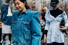 DOUBLE denim may have entered the sartorial zeitgeist as a noughties throwback (à la Britney Spears & Justin Timberlake), but its perennial relevance has stood the test of time amongst the street-style set. From distressed dungarees to statement jackets, see how Vogue's favourite street stylers are wearing denim this season, and don't be afraid to double up.