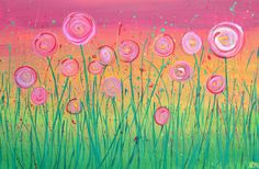 Rainbow Abstract Flowers Painting - Whimsical Flowers Painted on Rainbow Coloured Background Abstract Flower Art, Flower Canvas, Wine And Canvas, Guache, Beginner Painting, Arte Floral, Art Graphique, Easy Paintings, Canvas Paintings
