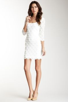 GUESS 3/4 Length Sleeves Scalloped Fringe Dress