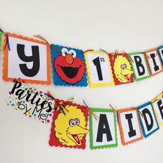 Sesame Street Birthday Banner- Sesame Street Birthday Party-Sesame Street paper banner-Sesame Street Sign-Elmo Banner-Elmo Birthday Banner by PartiesbyMel on Etsy