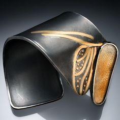 Ellen Stewart Cuff, Sterling silver, dragonfly wing, fused 24k gold, optical quartz