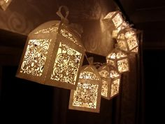 Magical lantern fairy lights, cream, ivory, perfect Christmas or wedding decoration. Battery 10 LED