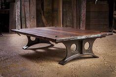Custom Wood Furniture, Steel Furniture, Table Furniture, Cool Furniture, Metal Table Legs, Wood Table, Wood Steel, Wood And Metal, Industrial Table