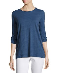 3/4-Sleeve+Slubby+Organic+Jersey+Top+by+Eileen+Fisher+at+Neiman+Marcus.