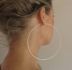 4 inch Sterling Silver Hoop Earrings. Extra by NadinArtDesign, $55.00