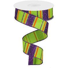 Glitter Stripes on Royal Ribbon: Lime Green, Purple & Orange Yards) Dark Purple, Green And Purple, Halloween Ribbon, Wreath Supplies, Green Glitter, Wired Ribbon, Mesh Wreaths, Color Shades, Deco Mesh