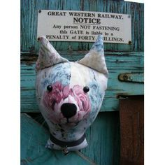 Fake taxidermy , shabby chic, country house, Cat trophy head. Vintage fabric. Floral. £13