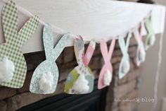 Easy Easter banner idea, but use sideways silhouette bunnies to match other decorations & make cotton rosette tails from cotton makeup pads