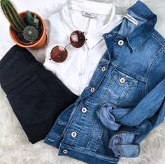 Boho Denim Flat Lay , White Shirt