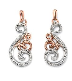 White and Rose Gold Diamond Swirl Earrings - London Jewellery Company. 9ct Gold Earrings, Diamond Jewelry, Drop Earrings, Jewelry Companies, Summer Sale, Women Jewelry, White Gold, Bling, Gold Designs