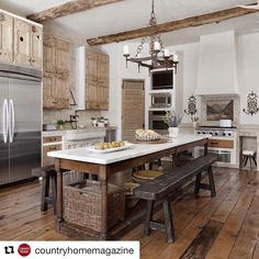 We love this kitchen by Sarah West & Associates! Thank you for sharing @countryhomemagazine  #sarahwestandassociates #architecturalconsultant #houston #reclaimed #european #antiques #architecture #interiordesign #oldmeetsnew #limestone #marble #instalove @shwest123