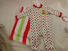 Infant Christmas  One Piece Sleeper & Matching Blanket Polka Dots With Reindeer #Babygear #ChristmasHoliday