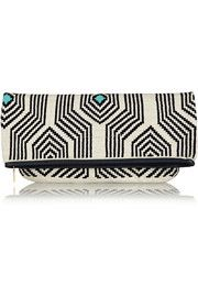 Sophie Anderson Camille leather-trimmed crocheted cotton clutch