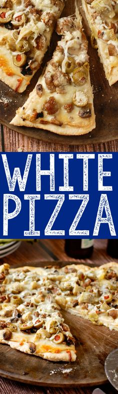 This delicious White Pizza is white sauce loaded up with sausage, artichokes, olives, and mushrooms! Such an awesome pizza!