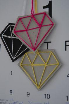 DIY Paper Diamond Decorations.