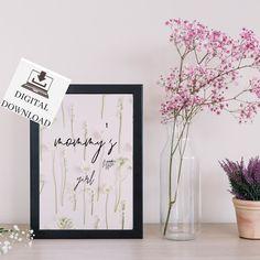Mommy's Little Girl Wall Art, Instant Download Printable Poster Girls Flower Nursery Room Decor. #printableart #digitaldownload #girlswallart #pinkwallart #floralwallart #girlsroomdeor #playroomdecor #bedroomdecor #minimalist #mommysgirl #wallart Nursery Room Decor, Playroom Decor, Nursery Wall Art, Pink Wall Art, Floral Wall Art, Printable Poster, Flower Nursery, Designer, Little Girls