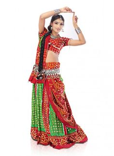 Red and Parrot Green Pure Cotton Ghagra Choli